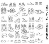 vector set of sketch shoes... | Shutterstock .eps vector #507977551