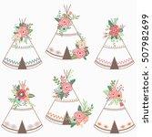 flower teepee elements   Shutterstock .eps vector #507982699
