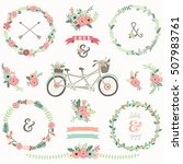 retro floral bicycles elements  | Shutterstock .eps vector #507983761