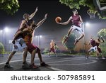 basketball players in action on ... | Shutterstock . vector #507985891
