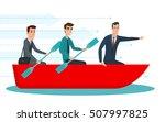businessmen workers rowing oars ...