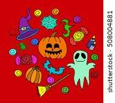 the halloween set pumpkin party ...   Shutterstock .eps vector #508004881