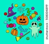 the halloween set pumpkin party ...   Shutterstock .eps vector #508004899