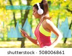 young woman jogging at park.... | Shutterstock . vector #508006861