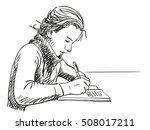 sketch of girl writing in... | Shutterstock .eps vector #508017211