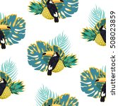 toucans endless pattern with... | Shutterstock .eps vector #508023859