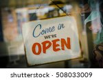 business opening with open sign | Shutterstock . vector #508033009