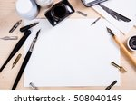 paper  ink and calligraphy pens.... | Shutterstock . vector #508040149