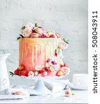 wedding cake with flowers... | Shutterstock . vector #508043911