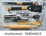 kitchen equipment and tableware ...   Shutterstock . vector #508046815