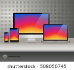 realistic computer monitor ... | Shutterstock .eps vector #508050745