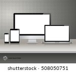 realistic computer monitor ... | Shutterstock .eps vector #508050751