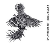 vector black and white rooster... | Shutterstock .eps vector #508056655