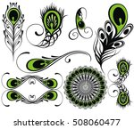 set for design with peacock... | Shutterstock .eps vector #508060477