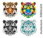 polygonal animal tiger head... | Shutterstock .eps vector #508061635
