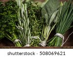 close view on fresh herbs bunch | Shutterstock . vector #508069621