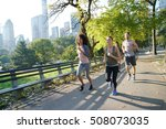 group of joggers exercising at... | Shutterstock . vector #508073035