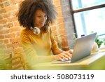 trendy girl in coffee shop... | Shutterstock . vector #508073119