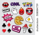 fashion patch badges in 80s 90s ... | Shutterstock .eps vector #508084759