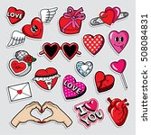 fashion patch badges in 80s 90s ... | Shutterstock .eps vector #508084831