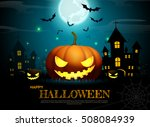 halloween pumpkin.fullmoon... | Shutterstock .eps vector #508084939