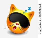 cute sleeping cat emoticon... | Shutterstock .eps vector #508088764