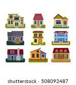 houses front view vector... | Shutterstock .eps vector #508092487