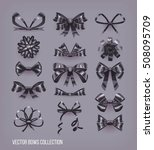 set of black cartoon style bow... | Shutterstock .eps vector #508095709