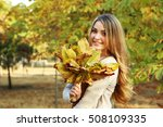 Beautiful Young Girl In Autumn...