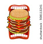 big hamburger mouth. strong...   Shutterstock .eps vector #508113241