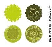 bio  eco  natural green badges... | Shutterstock .eps vector #508123279
