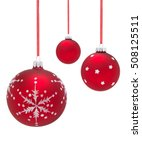 Group Of Red Baubles Isolated...