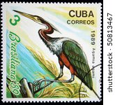 Small photo of CUBA - CIRCA 1989: A stamp printed in Cuba shows Agami Heron - Agamia agami, circa 1989