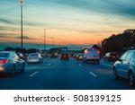 night traffic  cars on highway... | Shutterstock . vector #508139125
