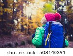 hiking woman with backpack... | Shutterstock . vector #508140391
