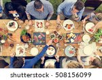 group of people dining concept | Shutterstock . vector #508156099