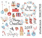 christmas set  graphic elements ... | Shutterstock .eps vector #508157935
