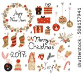 christmas set  graphic elements ... | Shutterstock .eps vector #508157941