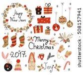 christmas set  graphic elements ...   Shutterstock .eps vector #508157941