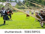 "Small photo of PETERHOF- JULY 07: Reconstruction of knightly fight in Peterhof on July 07, 2013, SAINT-PETERSBURG, RUSSIA. The festival ""Alexandrian roundabout"" takes place in the Alexandria Park every summer"