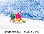 little girl and boy enjoy a... | Shutterstock . vector #508159441