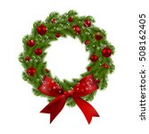 christmas wreath. green fir... | Shutterstock . vector #508162405