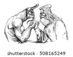 the devil is struggling with... | Shutterstock . vector #508165249