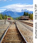 Small photo of the scenic picture perfect railway station of the mountain town Banff, Alberta Canada