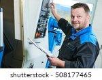 industrial worker operating cnc ... | Shutterstock . vector #508177465