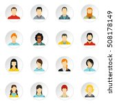 people icons set. flat... | Shutterstock . vector #508178149