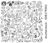 hand drawn food elements. set... | Shutterstock .eps vector #508179001