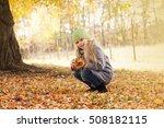 little girl in park in autumn ... | Shutterstock . vector #508182115