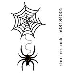 spooky spider with black web | Shutterstock .eps vector #508184005