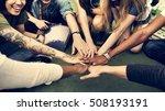 diverse group people hands pile ... | Shutterstock . vector #508193191